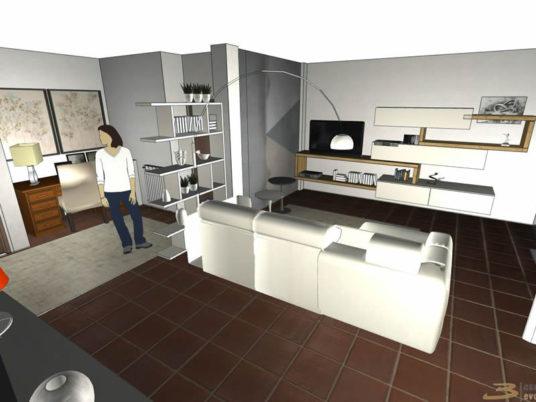 Progettazione rendering salotto